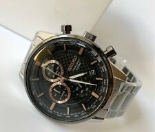 SSB331P1 Chronograph Black w/ Rose Gold Dial Silver Steel Watch for Men