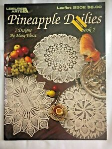 Vintage Crochet Pattern Leisure Arts 2502 Pineapple Doilies Book 2 by Mary Werst