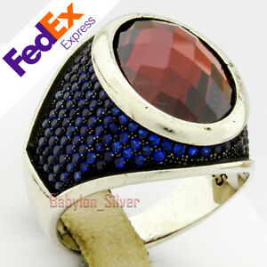 925 Sterling Silver Turkish Handmade Ruby & Sapphire Faceted Men Ring All Sizes