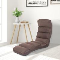 Mattress Chair W/Pillow Folding Floor Sofa Bed Adjustable Lounger Sleeper- Brown