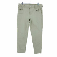 Chicos Platinum Beige Jeans Size 2 Flat Front 5 Pocket Pants Embroidered Pockets