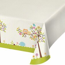 Happi Tree Baby Shower Sweet Owl Decor Table cover Tablecloth 54 x108 Border