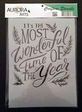 Stencil by Aurora Arts A4 Christmas sentiment 190mic Mylar craft stencil 103