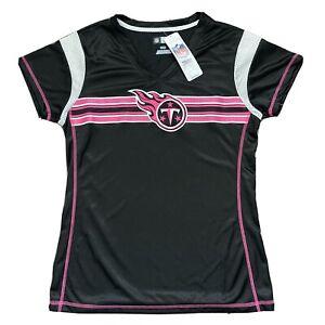 NFL Team Apparel Tennessee Titans Sz M Woman's Top Black Pink Jersey NWT