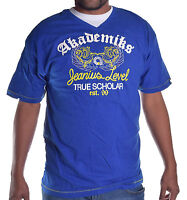 Akademiks Men's Blue Edukator V Neck Tee Shirt Choose Size