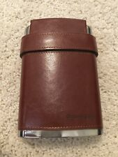 GENNISSY 304 18/8 Stainless Steel 8oz Flask - Brown Leather with 3 Cups