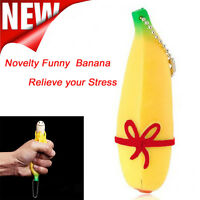 Novelty Funny Silicone Fruit Banana Stress Reliever Keychain Decompression Toy