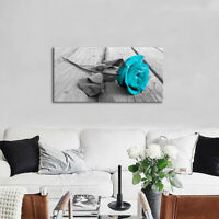 large Modern single Teal flower in Black and White Canvas wall art picture