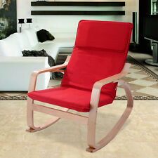 Red Rocking Chair Armchair Leisure Lounge Wood Accent Living Room Furniture New