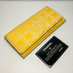Chanel Yellow New Travel Line Folded Wallet Authentic #6819Q