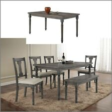 Rustic Dining Table Distressed Wood Farm House Kitchen Weathered Furniture