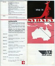 UTA French Airlines Stop In Sydney Brochure w/ map Vintage 1960s Rare French