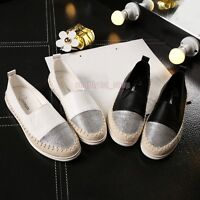Women Girl Flat Shoes Weave Slip On Boat Canvas Loafers Espadrilles Sneakers US
