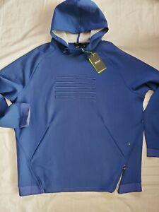 Hugo Boss Mens Open Blue Soodiq Hoodie Pullover Sweater Jacket,  Midium NWT