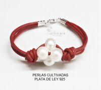 PULSERA de PLATA de ley 925, 4 PERLAS Cultivadas 10 mm. y Cuero Rojo. Mod Trebol