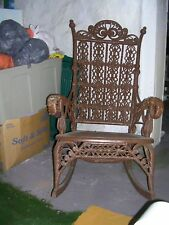 VICTORIAN 1800's  ROCKING CHAIR WITH CANE SEAT & WRAPPED ARMS,(DAMAGED)