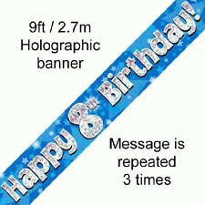 boys happy 8th birthday party foil banner 8 today decoration blue banners