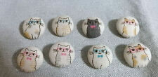 8 Handmade Fabric Covered Button -Cute  Cats - Natural Color - 20mm