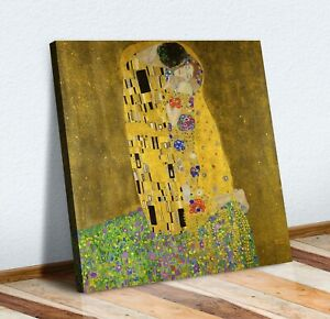 Gustav Klimt The Kiss square CANVAS WALL ART PICTURE PRINT PAINTING GOLD