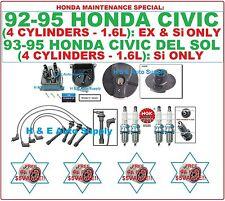 92-95 CIVIC 1.6L EX Si DEL SOL TUNE UP KITS: SPARK PLUGS, WIRE SET; CAP & ROTOR