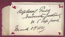 Stephen J. Field, Supreme Court Justice, Signed Card, COA, UACC RD 036