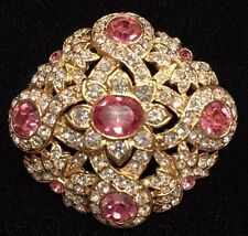 STUNNING Vtg Joan Rivers Collectible Rhinestone Gold Tone Pink Flower Pin Brooch