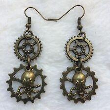 Bronze Gear Mini Octopus Earrings Handmade Steampunk Halloween Costume Gift  US