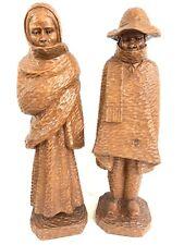 Set 2 LUIS POTOSI Hand Carved Wood Folk Art Statue Sculptures Man Woman Ecuador