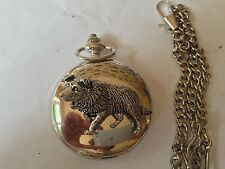 D22 Border Collie polished silver case mens Gift quartz pocket watch fob