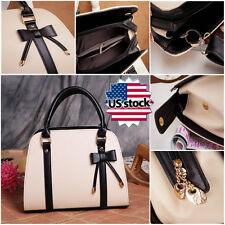 US STOCK Fashion Women PU Leather Handbag Little Bow Leisure Shoulder Bag Purse