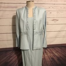Blue Linen MOB Dress Gown Positive Attitude Wedding Formal Special Occasion 14