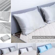 1 Pair Soft Satin Silk Pillowcase Pillow Case Cover Queen Standard Cushion Cover