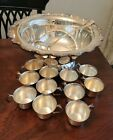 Vintage Towle Silverplate Dogwood Floral Scroll 17' Punch Bowl Set Wedding