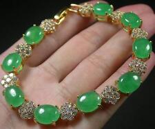 Gold Plate ICY Green JADE Cabochon Bangle Bracelet Diamond (Imitation) 272101 US
