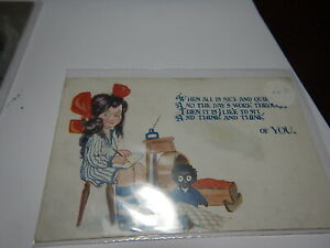 Antique post card  girl in chair