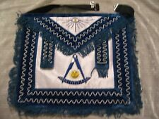 Past Master Masonic Apron w/o Square Blue Fringe Stretch Belt All Seeing Eye NEW