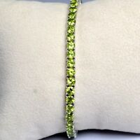 4mm Round Natural Green Peridot  925 Solid Silver Tennis Bracelet Fine Jewelry