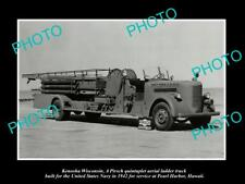 OLD LARGE HISTORIC PHOTO OF THE PERAL HARBOR HAWAII FIRE DEPARTMENT TRUCK c1942