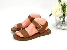 NEW Girls' Kamila Ankle Strap Sandals Size 5 - Cat & Jack Shoes Cognac Brown