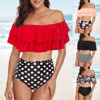 Frauen Retro Volant taillierter Bikini Schulterfrei Zweiteiliger Badeanzug P/D