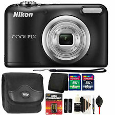 Nikon COOLPIX A10 16.1MP Digital Camera (Black) + Extra Batteries & Accessories