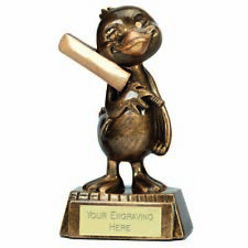 Cricket Duck Trophy Award Antique Gold 5.25 Inch (13.5cm) ,Free p&p & Engraving