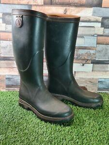 Rare Mens Aigle depose neoprene lined green wellies boots Size 9 lightweight