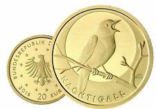 Deutschland 20 Euro 2016 Heimische Vögel Nachtigall 1/8 Oz Gold Gedenkmünze