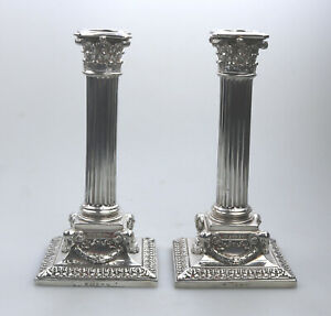 A fine pair Elkington silver plate Corinthian Column Candelsticks C.1872