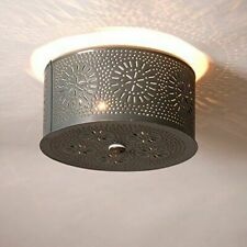 Primitive Round Rustic Flush Mount Ceiling Light Country Punched Tin Fixture