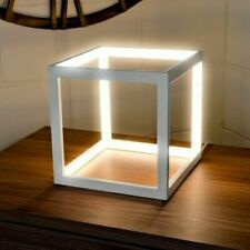 240v LED White Cube Box Table Lamp Contemporary Square Lighting Statement Piece
