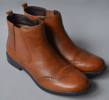 Ladies Hotter County Tan Leather Brogue Chelsea Boots Size UK 5