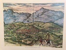 View Of Loxa- By Cartographer George Braum Vintage Lithograph