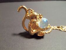 Joan Rivers Classics Collection Monkey Holding Crystal Ball Pendant Necklace
